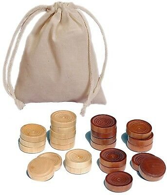 Traditional Wood Draught and amp; Backgammon Pieces with Stackable Ridge - Dark
