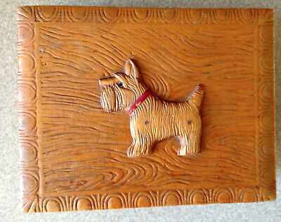 Carved Wood Box with Scottish Terrier on Top