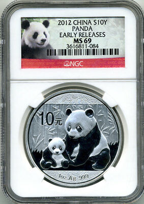 China 2012 Silver Panda Early Releases Ngc Ms69