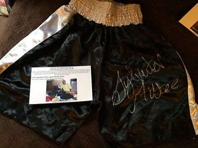 Sylvester Mittee Signed Boxing Shorts. Autograph Boxing Memorabilia