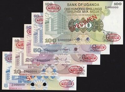 UGANDA 5, 10, 20, 50, 100 Shillings ND (1979) SPECIMEN P-10s,11as,12as,13as,14as