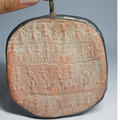 Ancient Rare Medieval Bronze Terracotta Carved Big Pendant #K
