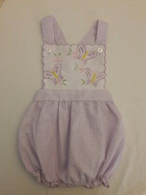 Vintage Baby Girl purple butterfly Romper Sunsuit Childrens Clothes Outfit