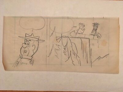 YOGI BEAR: Original Comic Strip Preliminary Art Drawing (Harvey Eisenberg 1960s)