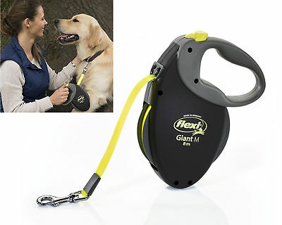 Flexi Giant Black Neon Retractable Tape Leash Dog Pup Lead 8m Professional  Safe