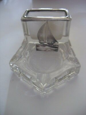 Heisey Glass-Art Deco -Ashtray w/ Match holder-Sterling Silver Overlay sailboat
