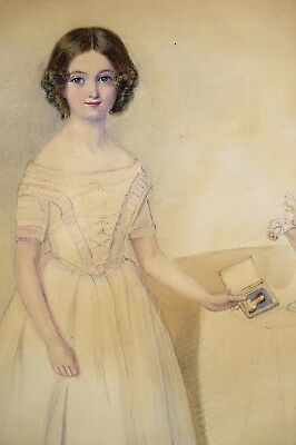 Fine c.1840 Watercolour Portrait of a Girl Holding a Miniature Painting
