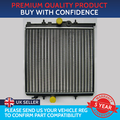 BRAND NEW RADIATOR PEUGEOT 206 / 206+ 380mm x 415mm CORE - 16mm OVERFLOW PIPE
