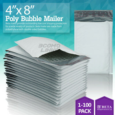 "#000 4x8 Poly Bubble Mailer Self Padded Envelope Bag 4""x8"" 25,50,100,250,500 Pcs"