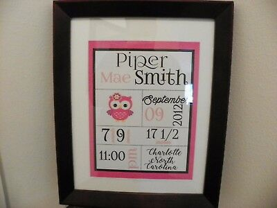 Custom Personalized Cardstock Baby Girl Announcement Pink with Baby Owl