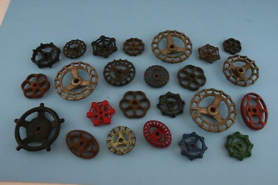 Vintage Valve Handle Lot of 24 Cast Iron Steampunk Industrial