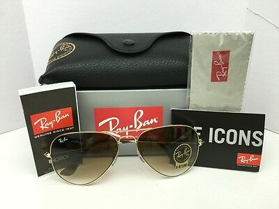 NEW Ray Ban RB3025 Aviator 001/51 Brown Gradient Lens Gold Frame Sunglasses 62mm