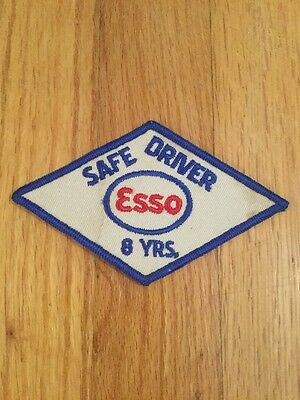 "Vintage Esso Oil Safe Driver 8 Years Patch 5"" X 3"""
