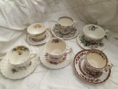 Vintage Copeland England Tea Cup Collection - Lot of 6 Cups & Saucers
