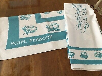 Rare Old Vintage 1940's Hotel Peabody (6) Napkins And (1) Tablecloth