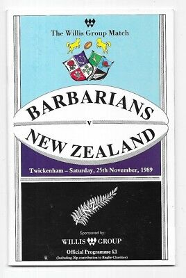 1989 - Barbarians v New Zealand, Autographed Match Programme
