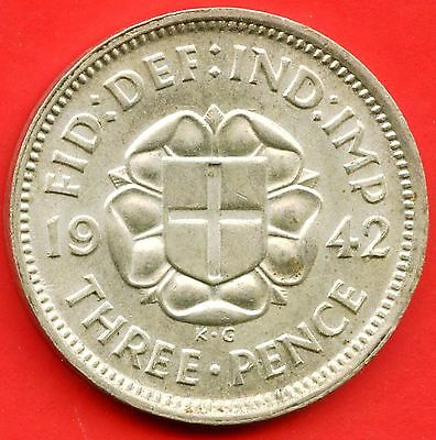 1942 Great Britain 3 Pence Coin (1.41 Grams .500 Silver)