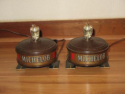 vintage set ~ MICHELOB BEER ~ BAR TOP / POST LIGHTED LAMPS ~ RARE SET, LOOK