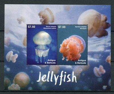 Antigua & Barbuda 2017 MNH Jellyfish 2v S/S Marine Animals Stamps