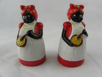 Pair Vintage Black Americana Mammy Ceramic Salt & Pepper Shakers 3""