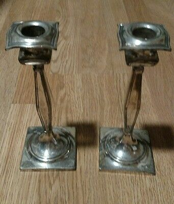 Pair Hartford Sterling Co Quadruple Silver Plated Candle Holders Candlesticks