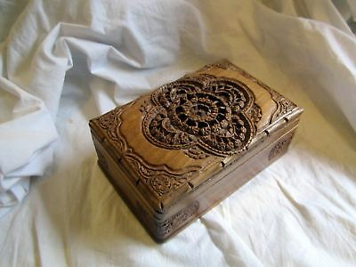 Lovely Old Carved Wooden Box