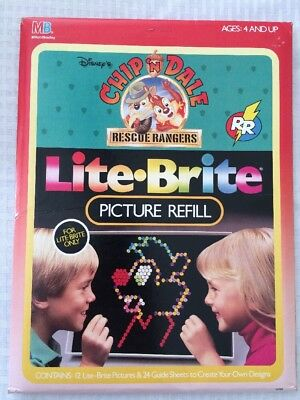 Vintage Lite Brite 12 picture refill pages unopened Disney Chip 'n Dale Rescue