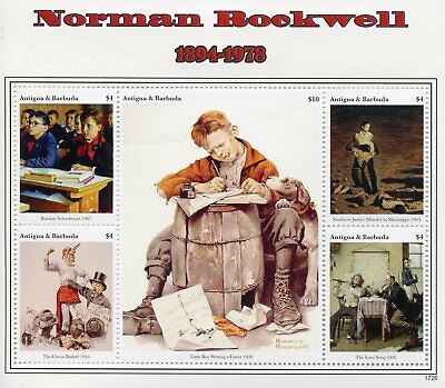 Antigua & Barbuda 2017 MNH Norman Rockwell 5v M/S II Art Paintings Stamps
