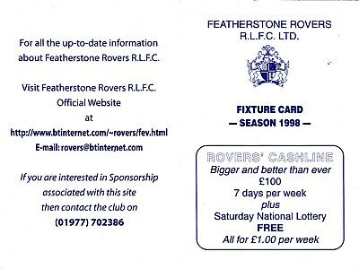Featherstone Rovers Fixture Card 1998