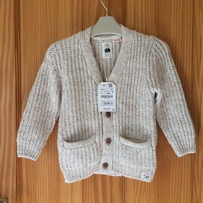 BNWT Zara Baby Boy Knitted Wool Blend Chunky Cardigan Cream Beige 18-24
