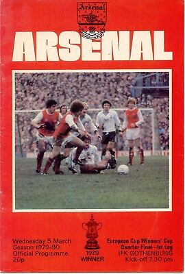 Arsenal v IFK Gothenburg - Cup Winners Cup - 1979/80