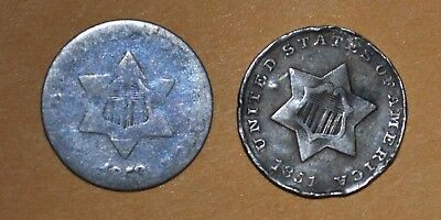 1851 & 1953 Silver 3 Cents