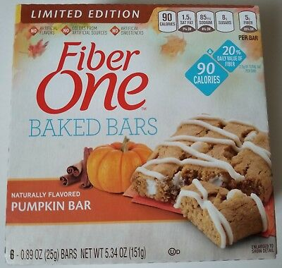 NEW Fiber One Baked Bars Pumpkin Flavor Limited Edition FREE WORLDWIDE SHIPPING