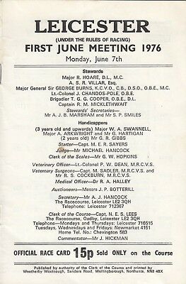 Racecard - Leicester 7th June 1976 First June Meeting