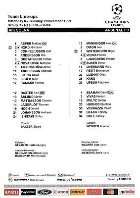 Teamsheet - AlK Solna v Arsenal 1999/2000 UEFA Champions League