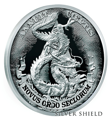 2017 1oz .999 SILVER SHIELD - DEATH OF THE DOLLAR #3 - DOLLAR DRAGON - BU W/COA