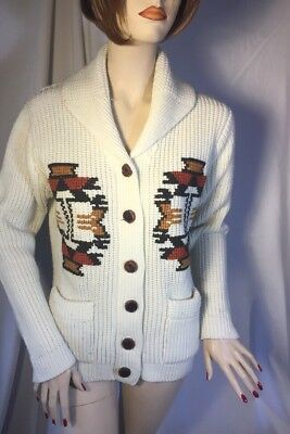 VTG 1970s MILLER  SHAWL COLLAR CARDIGAN SWEATER Aztec Native Cowichan Style Sz M