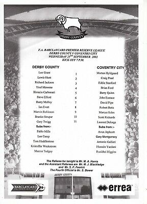 Teamsheet - Derby County Reserves v Coventry City Reserves 2002/3