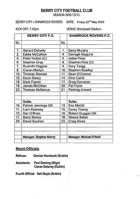 Teamsheet - Derry City v Shamrock Rovers 2008/9