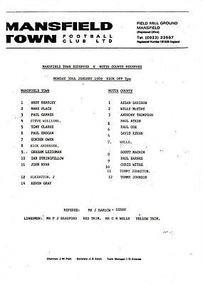 Teamsheet - Mansfield Town Reserves v Notts County Reserves 1988/9
