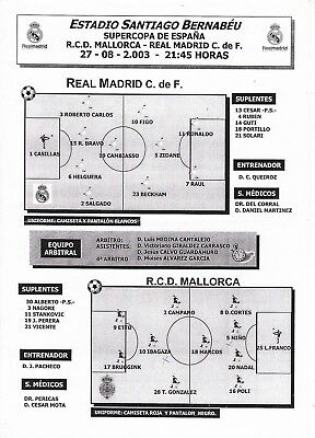 Teamsheet - Real Mallorca v Real Madrid 2003/4