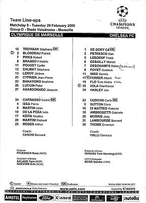 Teamsheet - Olympique Marseille v Chelsea 1999/2000 UEFA Champions League