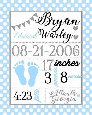 Custom Personalized Cardstock Baby Boy Announcement in Blue/Gray with Feet