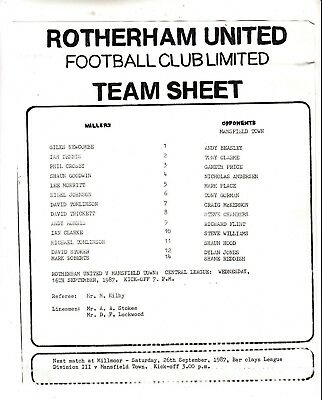 Teamsheet - Rotherham United Reserves v Mansfield Town Reserves 1987/8