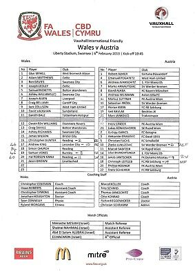 Teamsheet - Wales v Austria 06.02.2013 Friendly