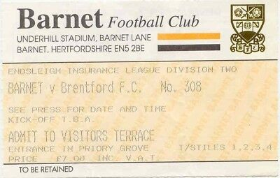 Ticket - Barnet v Brentford