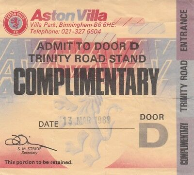 Ticket - Aston Villa Reserves v Blackburn Rovers Reserves13.03.89
