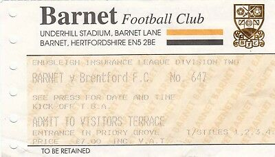 Ticket - Barnet v Brentford (Undated)
