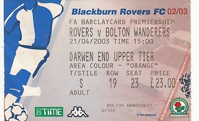 Ticket - Blackburn Rovers v Bolton Wanderers 21.04.03