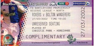 Ticket - Blackburn Rovers v Bolton Wanderers 27.03.02